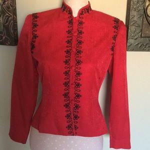 PAPELL Red Mandarin Silk Jacket  100% Silk